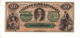 CITIZEN'S BANK---New Orleans $20.00 1860's Haxby LA-15-II-G68a CU PCGS 6... - $163.35