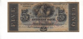 CITIZEN'S BANK-New Orleans $5.00 1850's-60's Haxby LA-15-G12cPMG 66-EPQ-... - $94.05