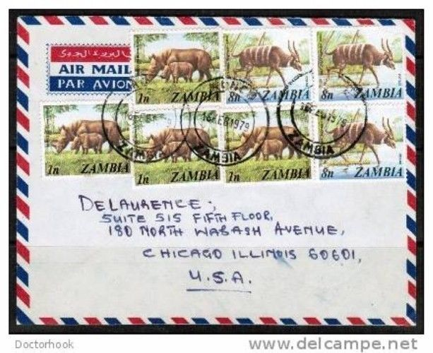 ZAMBIA Scott # 135 (4) and 140 (3) on 1979 AIRMAIL COVER to Chicago (Cover-103)
