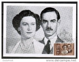 LUXEMBOURG Luxembourg Royal Wedding 1953 Maximum Card With Scott 387 (Co... - $7.87