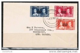 COOK ISLANDS 1937 CORONATION FIRST DAY COVER to Canada (June 1 1937) (Co... - $7.87
