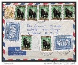 CONGO Scott # 345 (7) and BELGIAN CONGO #301(2) & #274 on 1961 AIR COVER... - $14.80