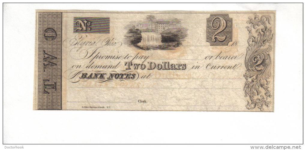 ELYRIA---Ohio $2.00 DOLLAR Bill 1800's VERY SCARCE!!! (CB6) - $64.95