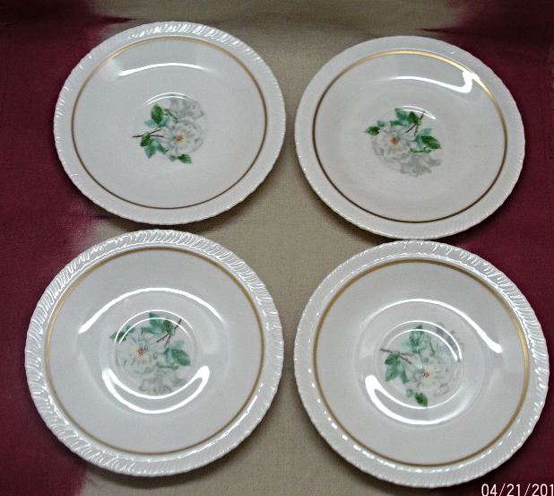 "Vintage set of Five Hanover China ""Silver Rose"" Dessert/B&B Plates Vintage China"