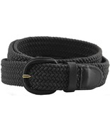 """Black Leather Covered Buckle Woven Elastic Stretch Belt 1-1/4"""" Wide, Black - $155,03 MXN"""