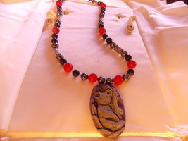 Hand made beaded Necklace w/ Carved pendant Koala - $59.00