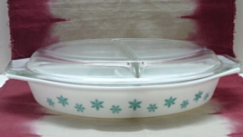 Vintage Pyrex Divided Oval Casserole Dish with Lid in Snowflake Pattern  - $19.50