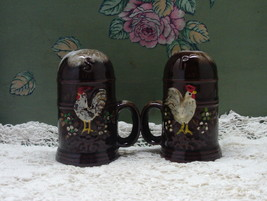 Vintage Redware Rooster Brown Drip Glaze Large Salt & Pepper Shakers - $13.50
