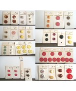 Vintage Mixed Lot 36 Cards w 80 Pieces Pearl Metal Plastic Shank Flat - $19.59