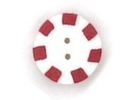 Small Red Peppermint 4415s handmade clay button JABC Just Another Button Company - $1.80