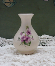 Vintage Miniature Porcelain Vase - Purple Violet Design -  - $3.80