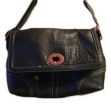 Coach Vintage Black Pebbled Leather White Stitching Turnlock Handbag Pur... - $28.84