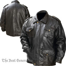 Mens Black Leather Field Jacket Zipper Closure Epaulets 4 Exterior Pocke... - $39.59