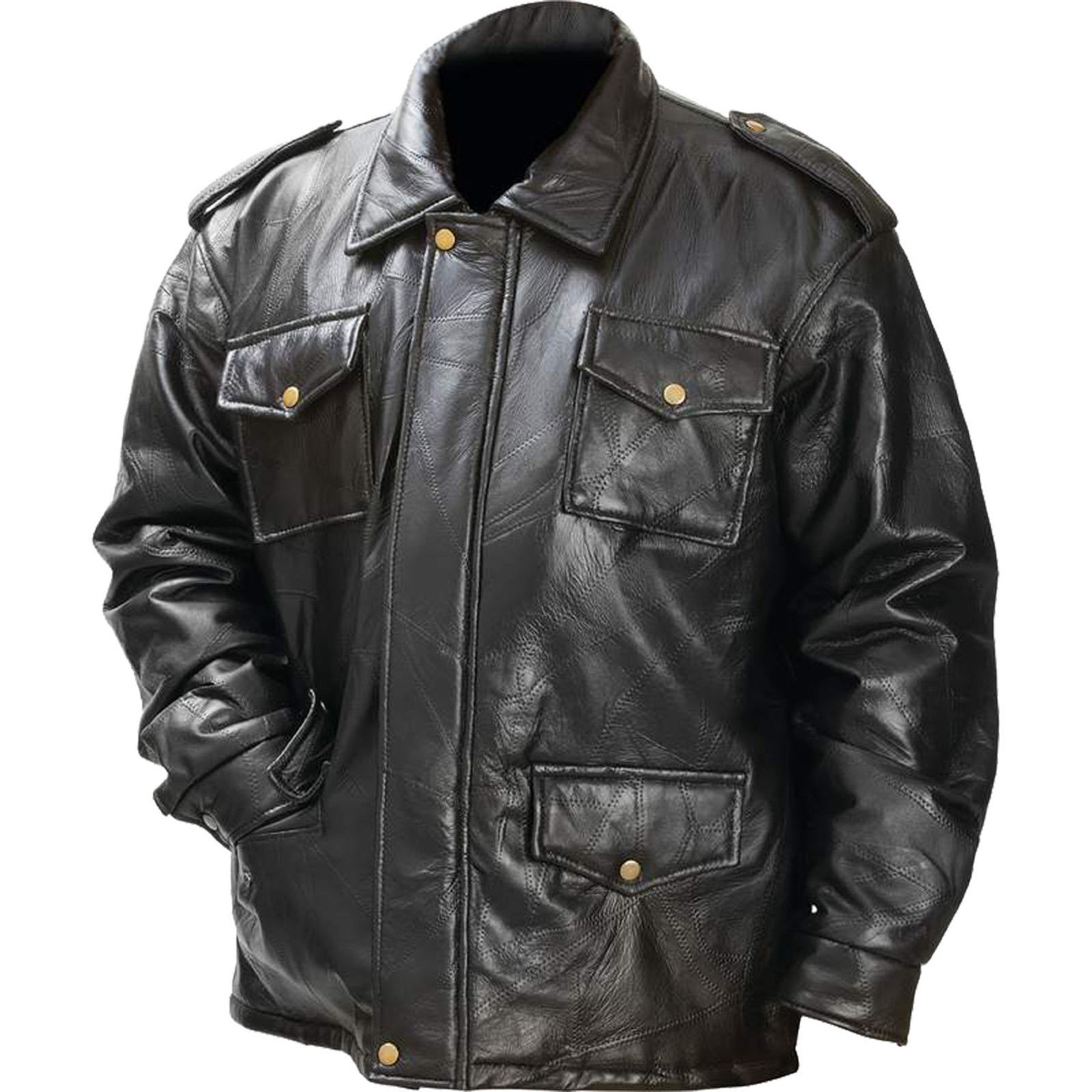 Mens Black Leather Field Jacket Zipper Closure Epaulets 4 Exterior Pockets Lined