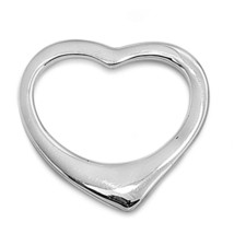 Sterling Silver Modern Open Heart pendant New Love Anniversary Gift ladies d134 - $14.40