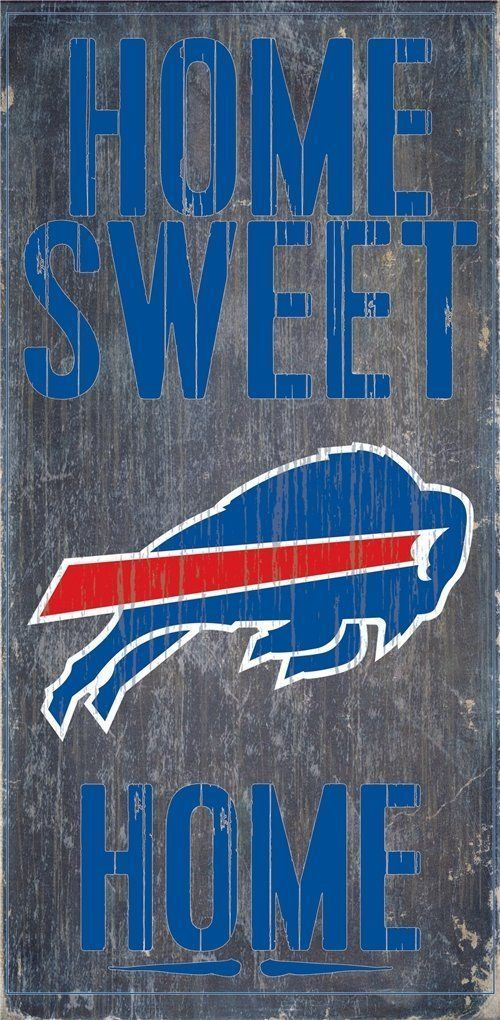 "BUFFALO BILLS HOME SWEET HOME WOOD SIGN and ROPE 12"" X 6""  NFL MAN CAVE!"