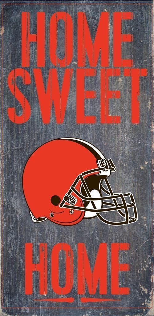 "CLEVELAND BROWNS HOME SWEET HOME WOOD SIGN and ROPE 12"" X 6""  NFL MAN CAVE!"