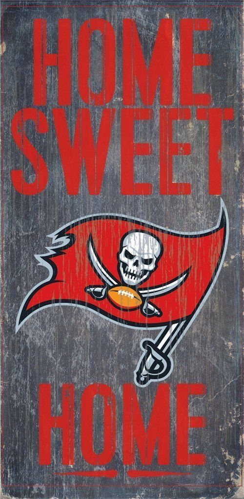 "TAMPA BAY BUCCANEERS HOME SWEET HOME WOOD SIGN and ROPE 12"" X 6""  NFL MAN CAVE!"