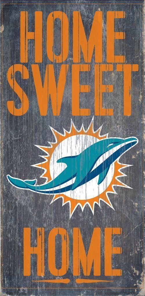 "MIAMI DOLPHINS HOME SWEET HOME WOOD SIGN and ROPE 12"" X 6""  NFL MAN CAVE!"