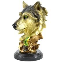 "Americana Rustic Nature Gray Wolf Head Bust 8.5""  Resin Figurine image 2"
