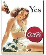Coca-Cola White Bathing Suit Metal Sign - $11.26