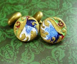Guilloche Enamel Cufflinks Vintage Victorian Gold  Green blue & Red Old ... - $110.00