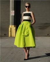 Dark Blue Glossy A Line Ruffle Skirt Women Taffeta High Waist Pleated Midi Skirt image 2