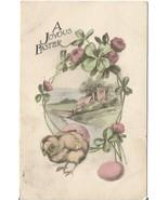 Antique Postcard A Joyous Easter Pink Clover Ch... - $6.99