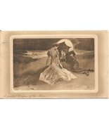 Partial Eclipse of the Moon Couple Lying on Beach with Parasol Vintage P... - $8.99
