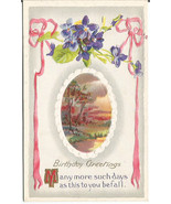 Birthday Greetings Violet posy & pink ribbon Mi... - $6.99