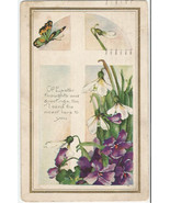 Butterfly over Purple Pansies and Snow Drops de... - $5.99