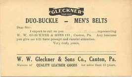 Gleckner Leather Goods Canton Pennsylvania Vintage Advertising Post Card - $6.00
