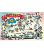 Greetings From Kentucky Map - 1970s Vintage Pos... - $2.99