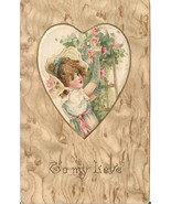 Victorian Girl picking pink roses from a trelli... - $8.99