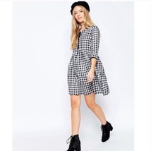 asos Womens Sz 6 Dress Gingham Checker Smock Short Sleeve Black White - $566,37 MXN