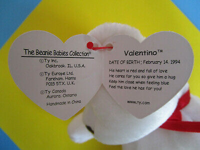 TY Beanie Babies VALENTINO White Teddy Bear with red heart, Plush Toy 1994 image 3