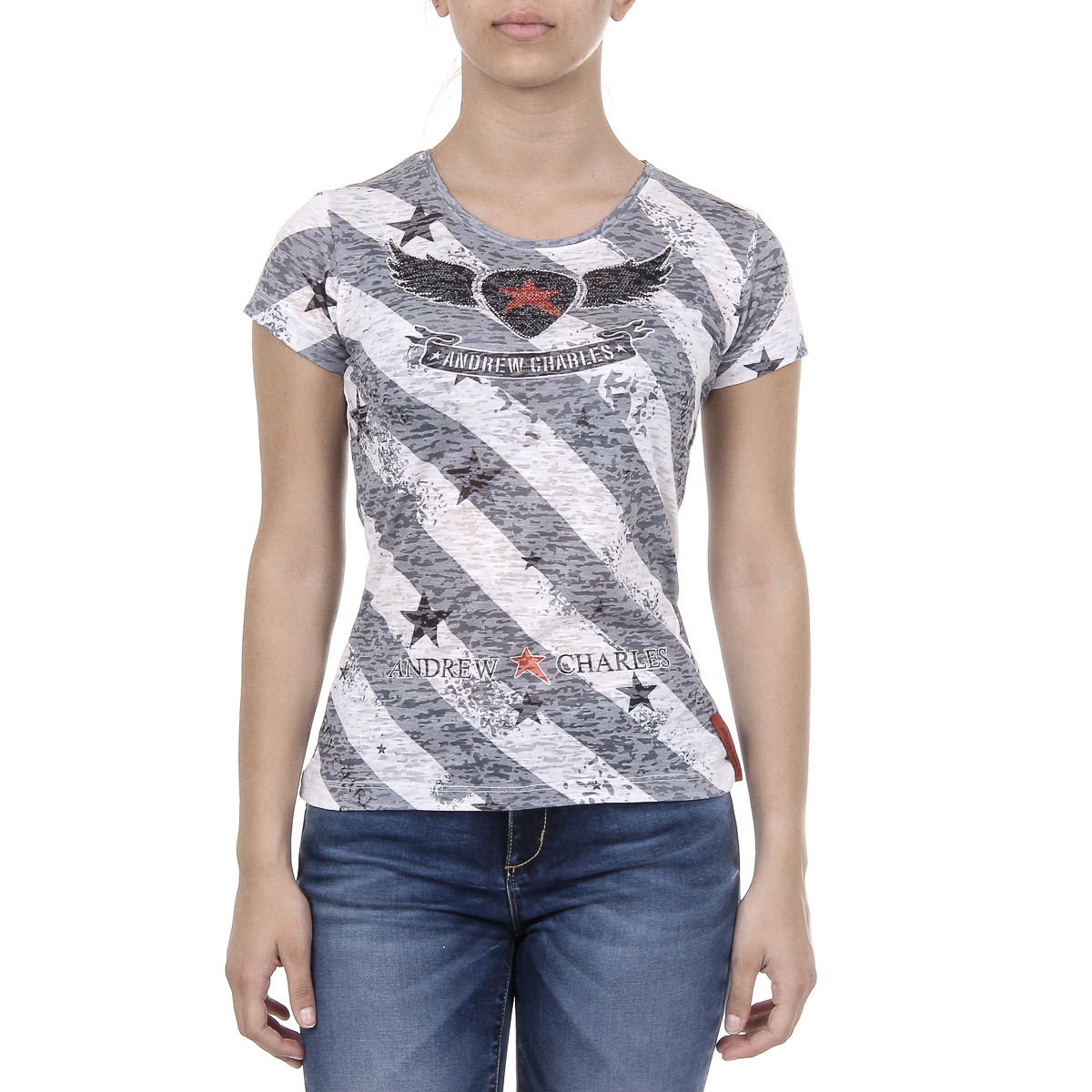 Primary image for Andrew Charles Womens T-shirt Short Sleeves Round Neck Grey CAROLINE
