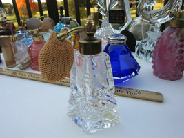 IW RICE Perfume Bottle Clear Cut Glass Etched Butterfly Wings Atomizer V... - $12.37