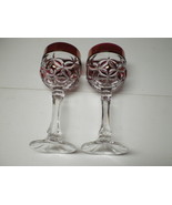 2 AMARIS by Nachtmann Cranberry Wine Hocks~~stunning~~cut to clear~~ - $27.95