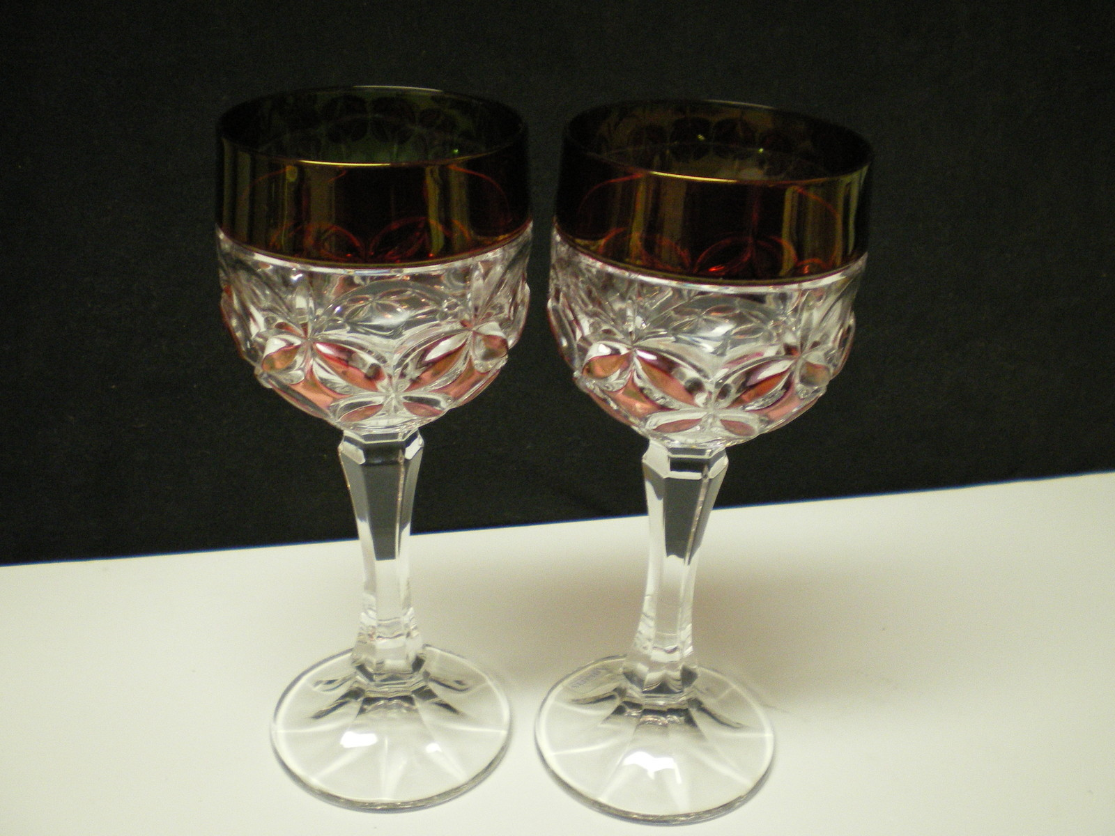 2 AMARIS by Nachtmann Cranberry Wine Hocks~~stunning~~cut to clear~~