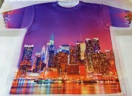 Custom New York Skyline Sublimated shirt bred powder blue grape yeezy - $33.99