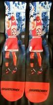 Custom Jordan The Shot Black/White Dry Fit socks gamma laney oreo III IV V  - $13.99