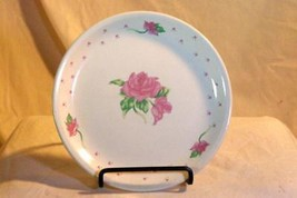 Tabletops Unlimited Pink Rose And Hearts Bread Plate - $2.76