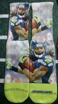 Custom Richard Sherman socks Seattle Seahawks NFL football blue powder   - $13.99