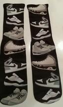 Custom Jordan B/W shoe collage Dry Fit socks III IV V VI VII X XI Barons concord - $13.99