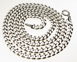 Vintage Sterling Silver Flat Chamfer Curb Hallmark 18 inch Necklace Chain 19 gr. - $34.79