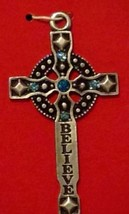 "New Christmas Ornament Crucifix Believe Cross Blue Crystals 2.5"" Pewter ... - $14.80"