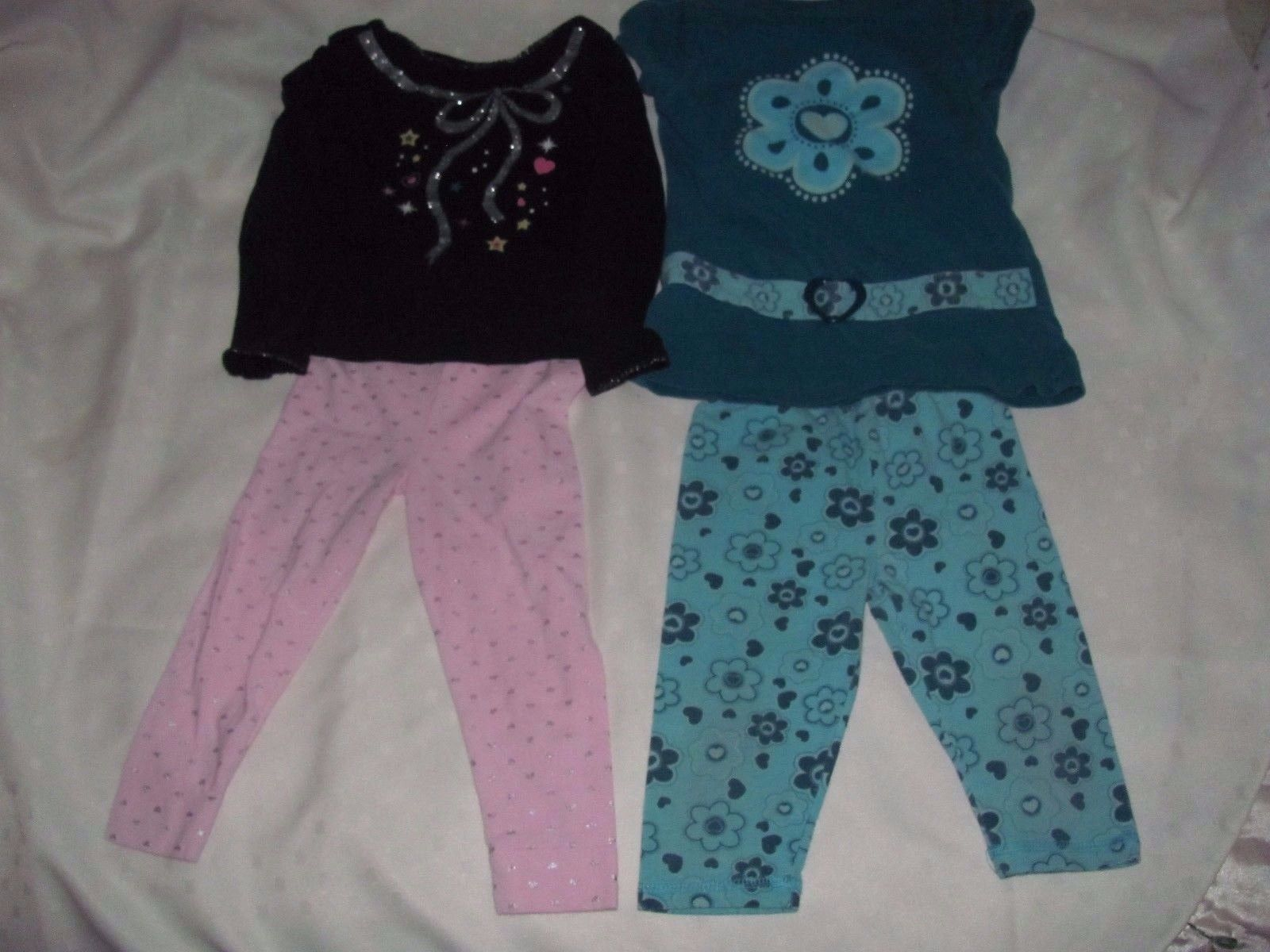 24 MOS. GIRLS OUTFITS-TOP LONG PANTS-GARANIMALS-FADED GLORY-PINK-BLACK-GREEN