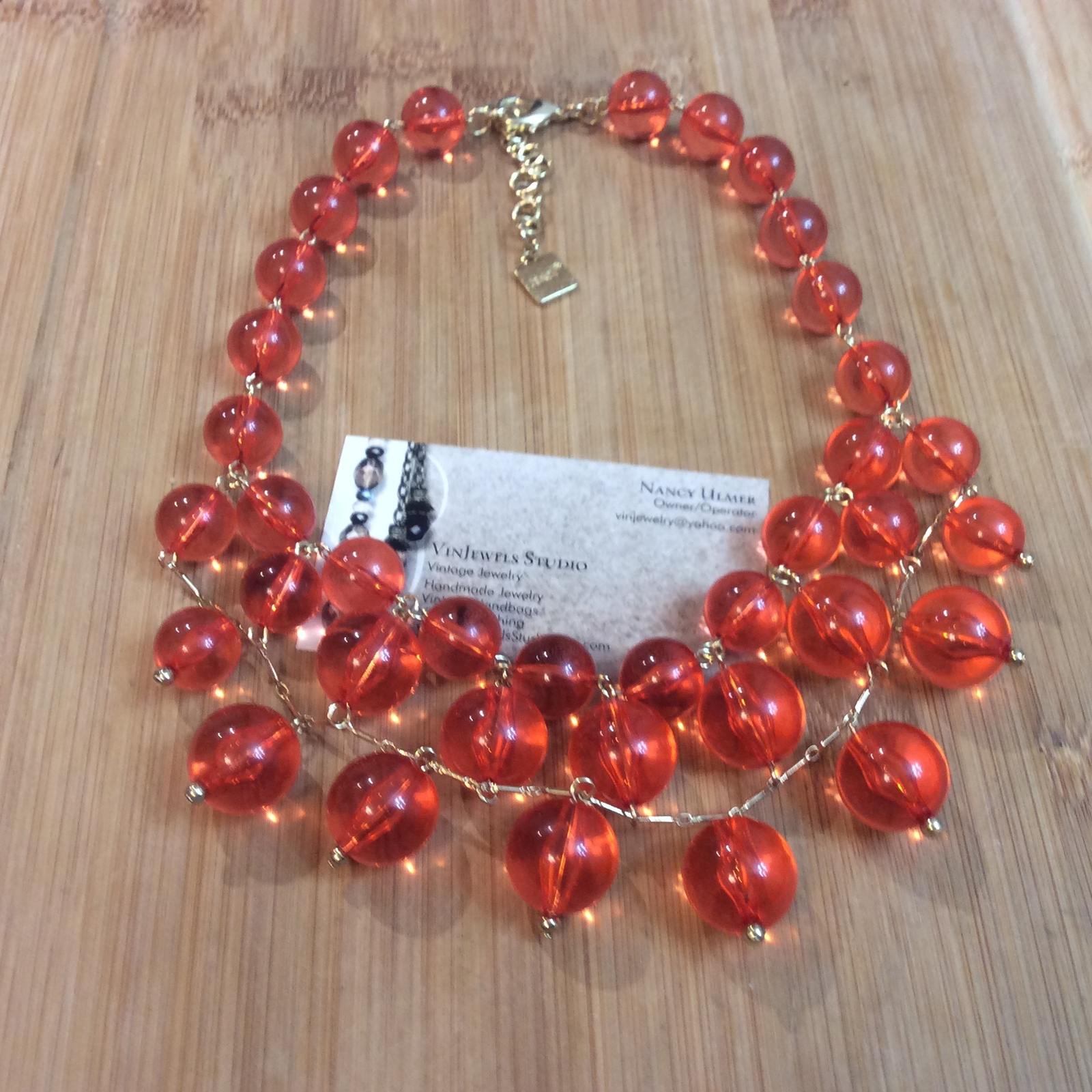 Vintage Signed Zenzii Orange Lucite Beaded Bib Style Statement Choker Necklace
