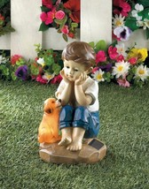Sweet Boy Sitting w/ His Faithful Pup Solar Garden Figurine Statue - $24.20